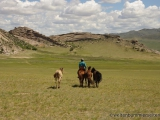 Pferdezuechter auf dem Weg zu seinen Pferden