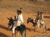 Kinder auf ihren Eseln in der Wueste