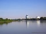 Blick vom Wasser Richtung Khartoum