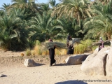 Frauen tragen Palmenblaetter