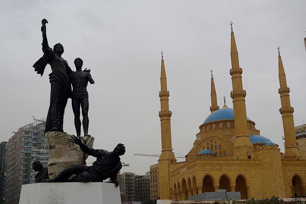 Beirut-Freiheitsdenkmal-und-Mohammed-al-Amin-Moschee