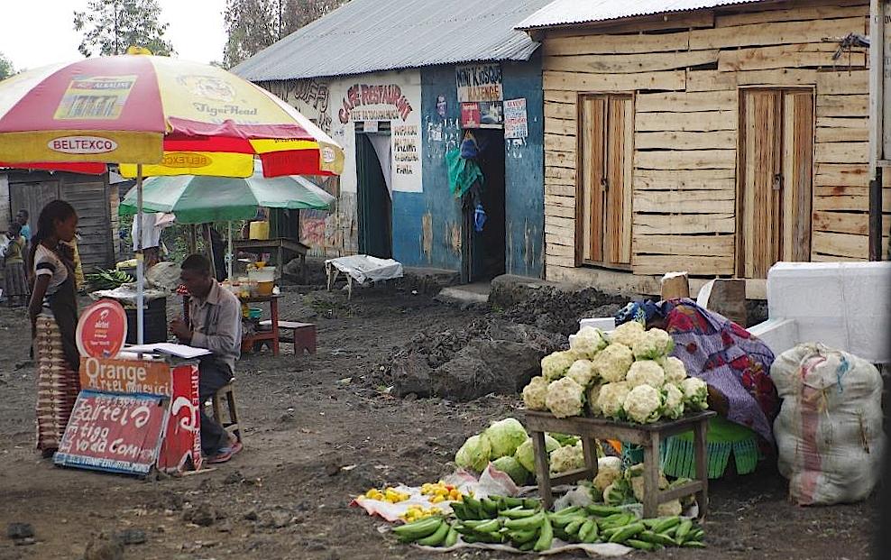 Gemüseverkauf vor einer neu gebauten Hütte  in Goma