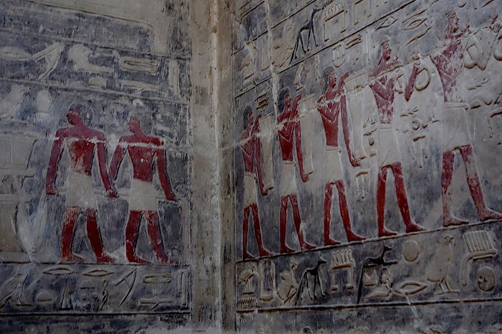 Wandmalerei in einer Mastaba